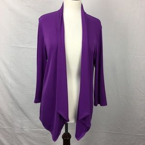 Additions by Chico's Purple Stretchy Open Cardigan